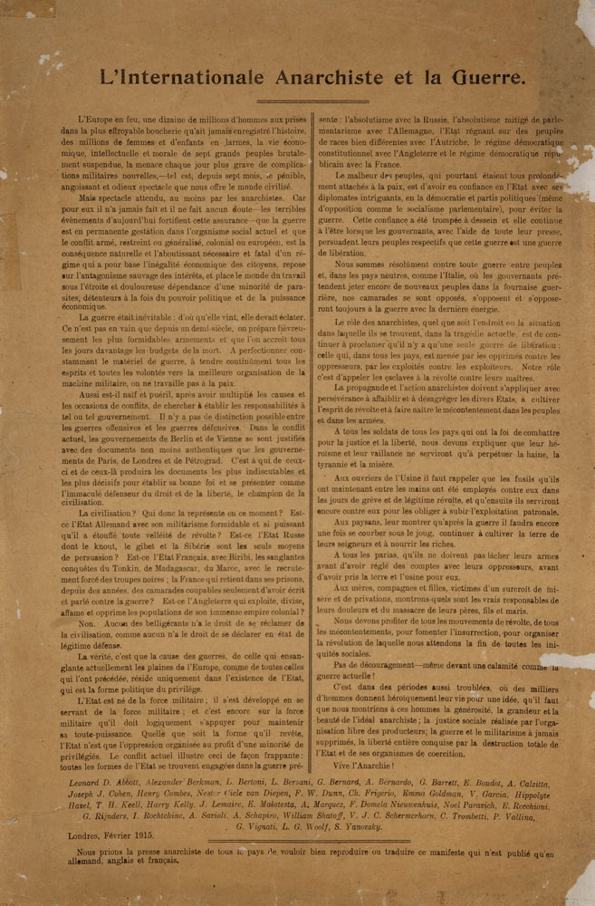L'Internationale anarchiste et la guerre - 657 × 1000 px
