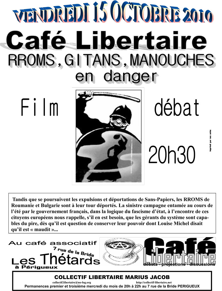 Café libertaire, rroms, gitans, manouches en danger - 762 × 1000 px