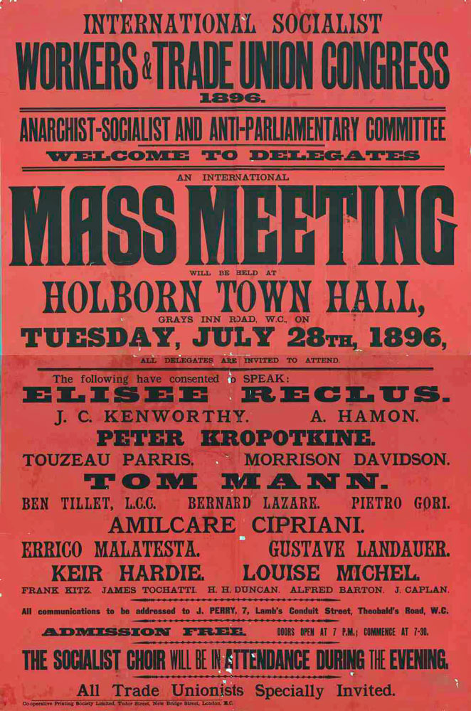 International socialist workers and trade union congress 1896, anarchist-socialist and anti-parliamentary committee, welcome to delegates - 662 × 1000 px