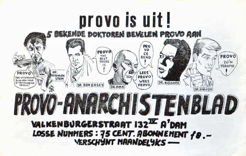Provo is uit ! Provo-anarchistenblad - 931 × 590 px