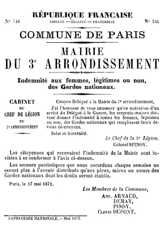 N° 346 - Commune de Paris - Mairie du 3e arrondissement - 525 × 722 px