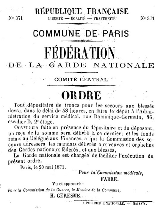 N° 371 - Commune de Paris - Fédération de la Garde nationale - Comité central - 548 × 720 px