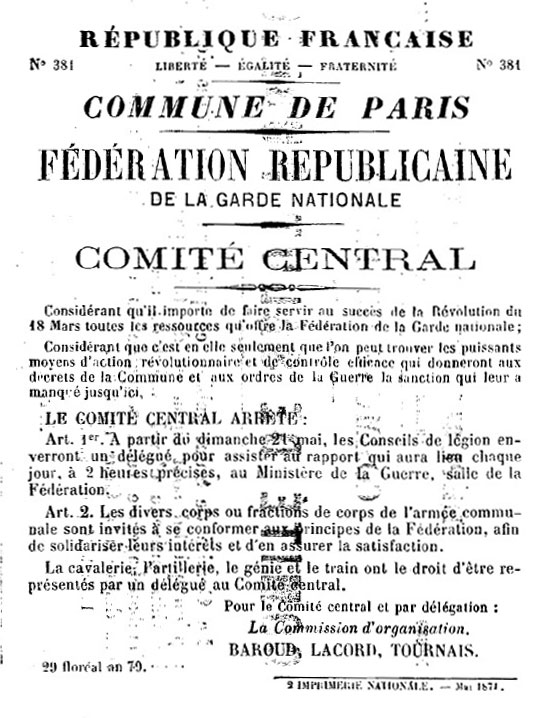 N° 381 - Commune de Paris - Fédération républicaine de la Garde nationale - Comité central - 544 × 718 px