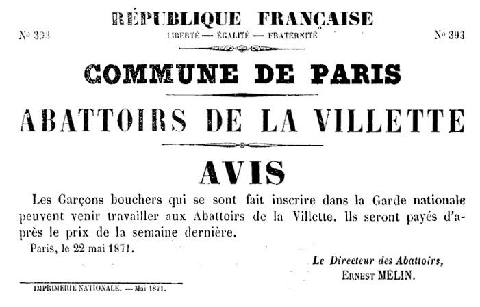 N° 393 - Commune de Paris - Abattoirs de la Villette - Avis - 701 × 449 px