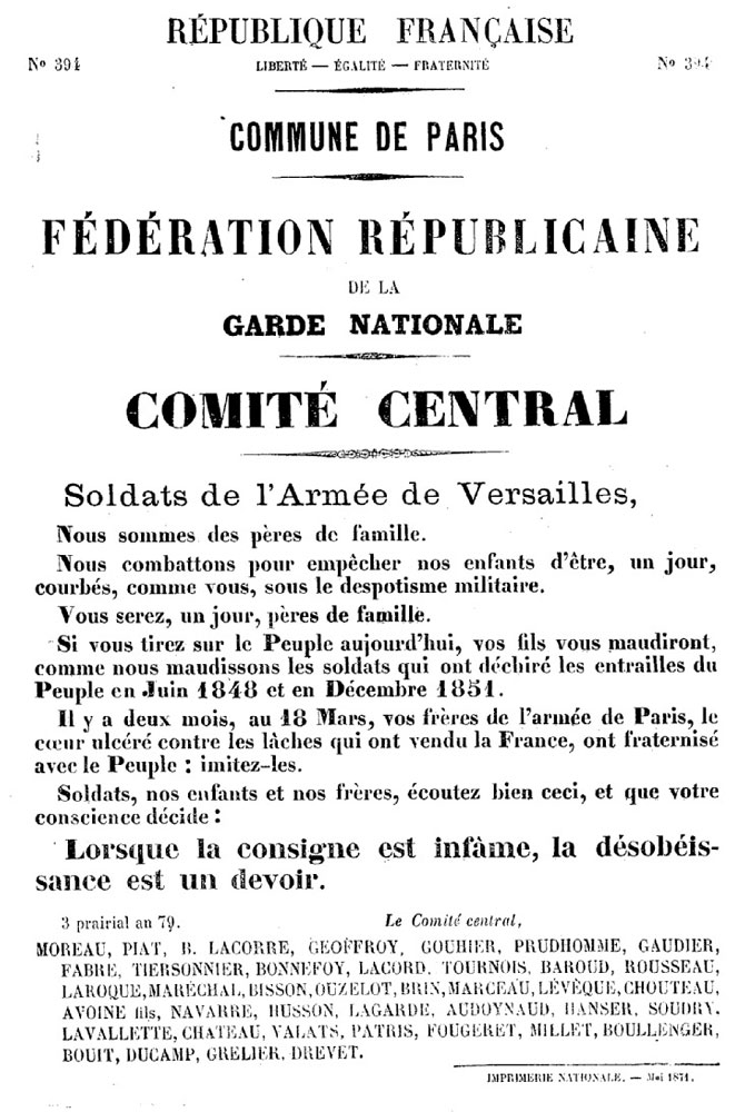 N° 394 - Commune de Paris - Fédération républicaine de la Garde nationale - Comité central - 670 × 1000 px