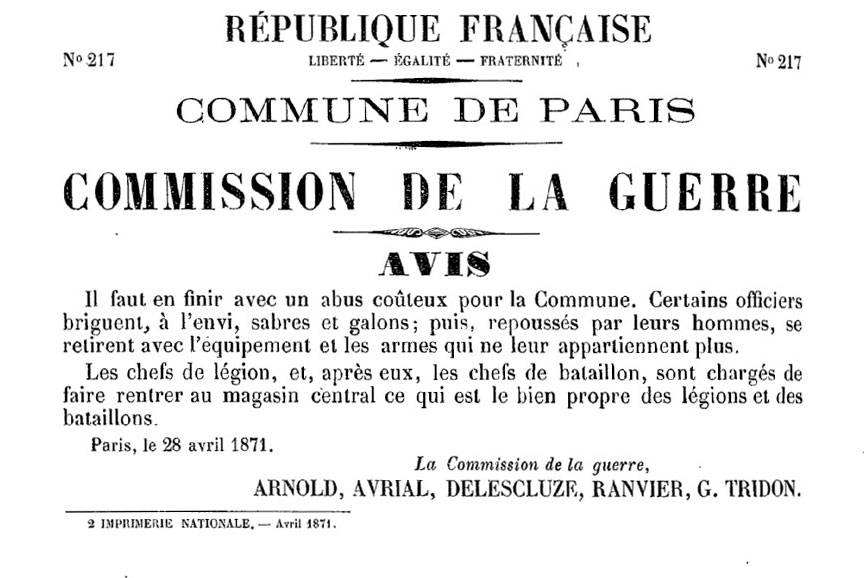 N° 218 - Commune de Paris - Commission de la Guerre - 864 × 578 px