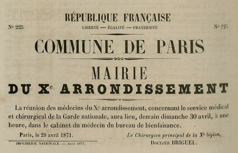 N° 225 - Commune de Paris - Mairie du Xe arrondissement - 798 × 511 px