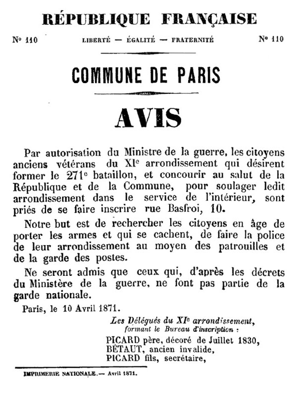 N° 110 — Commune de Paris — Avis - 602 × 797 px