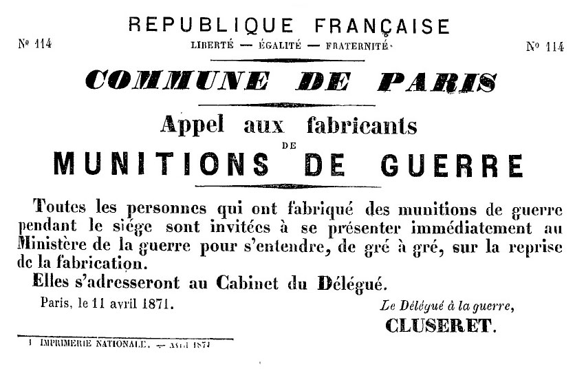 N° 114 — Commune de Paris — Appel aux fabricants de munitions de guerre - 836 × 536 px