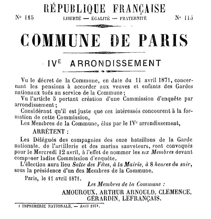 N° 115 — Commune de Paris — IVe Arrondissement - 698 × 722 px