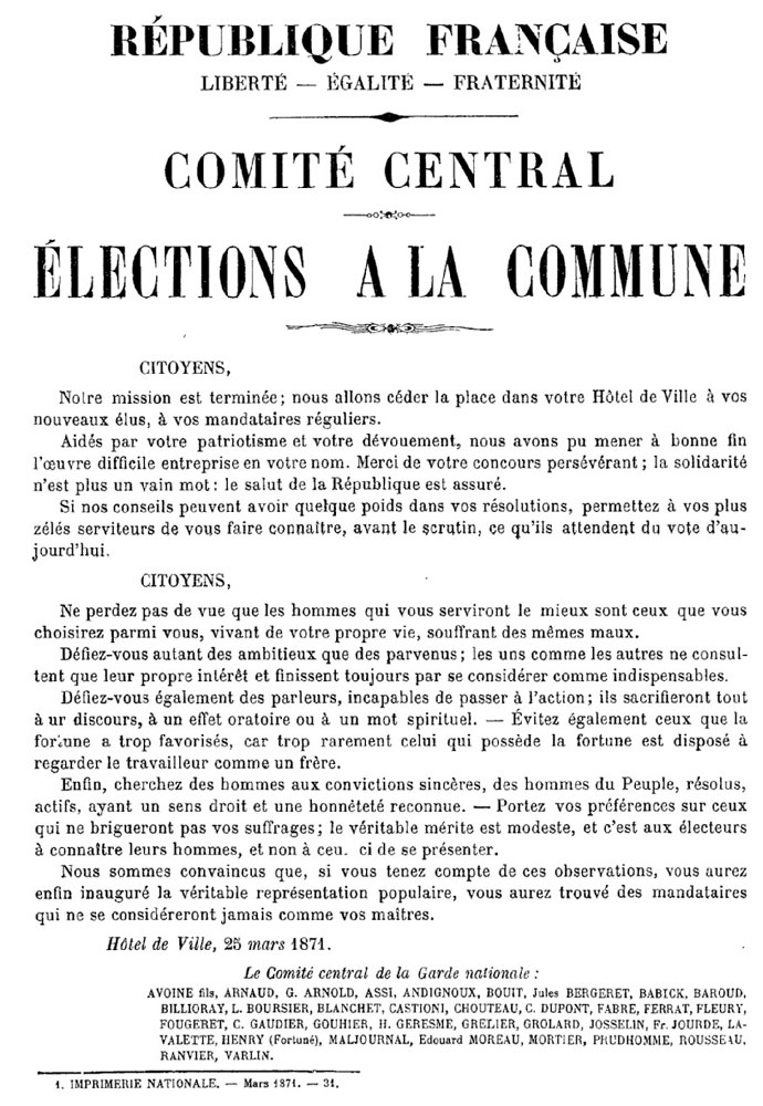 Commune de Paris — Comité central — Élections à la Commune - 690 × 1000 px