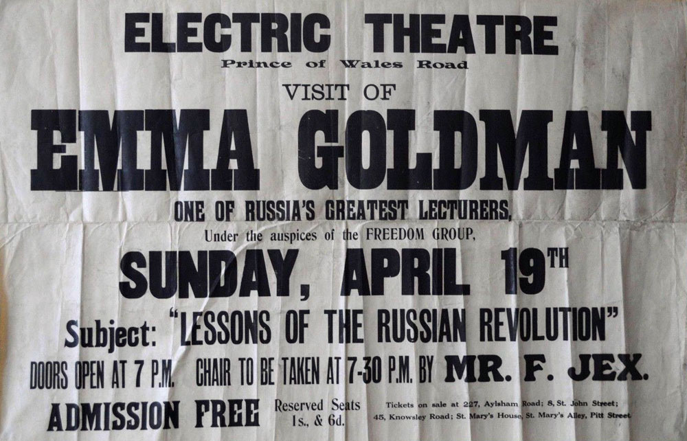 Visit of Emma Goldman, one of Russia's greatest lecturers - 1000 × 642 px